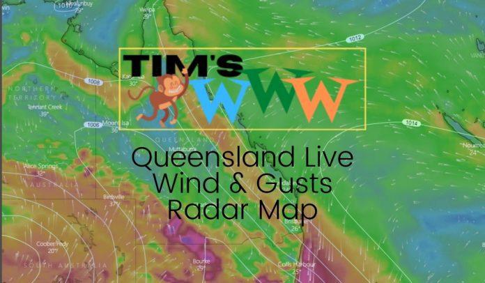 queensland live wind gusts radar map
