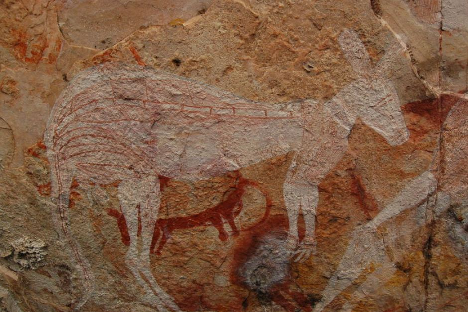 earlty australian aboriginal painting of a kangaroo