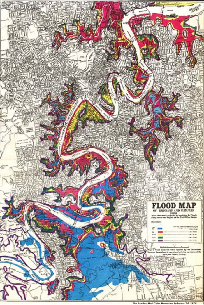 the 1974 flood map Brisbane