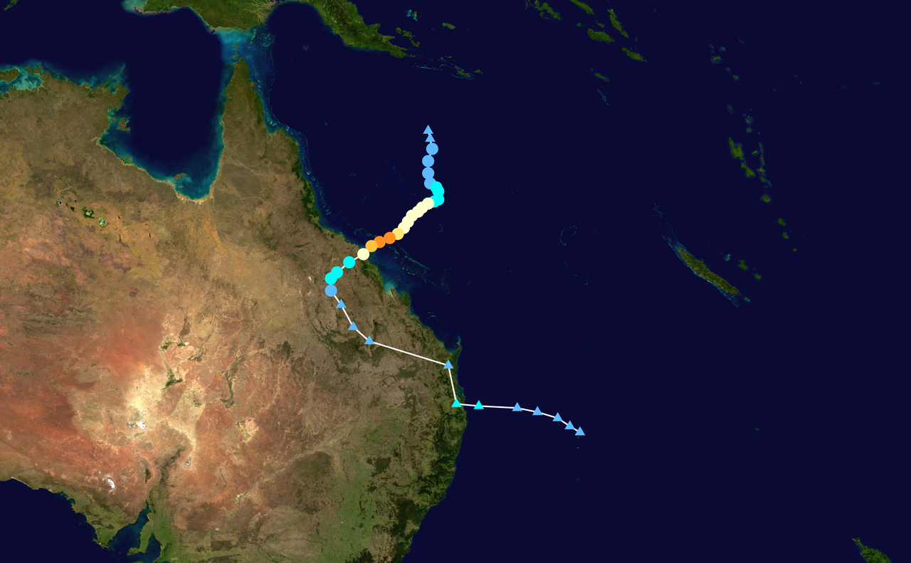 cyclone debbie track map
